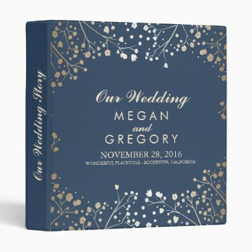 Toddler & Baby themed Baby's Breath Gold and Navy Wedding Binder