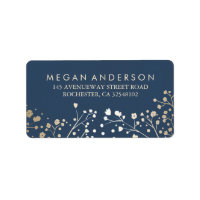 Baby's Breath Gold and Navy Wedding Label