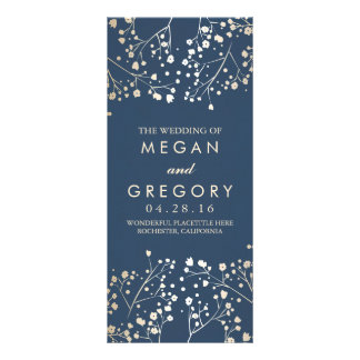 Baby's Breath Gold and Navy Wedding Programs