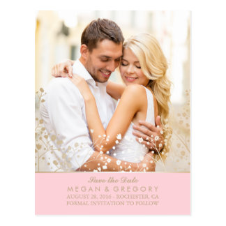 baby's breath gold and pink photo save the date postcard