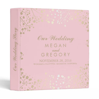 Baby's Breath Gold and Pink Wedding 3 Ring Binder