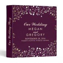 Baby's Breath Gold and Plum Wedding Binder