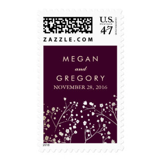 Baby's Breath Gold and Plum Wedding Postage