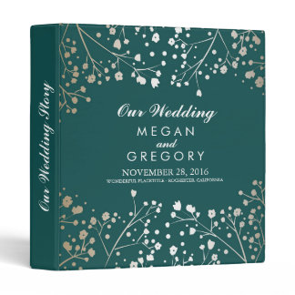 Baby's Breath Gold and Teal Wedding 3 Ring Binder