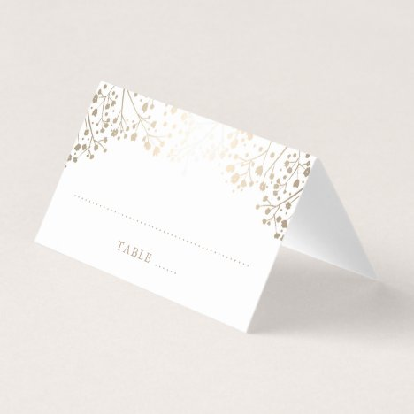 Baby's Breath Gold and White Elegant Wedding Place Card