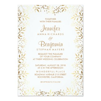 Baby's Breath Gold and White Wedding Card
