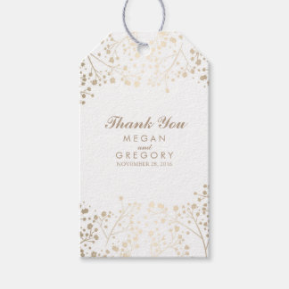 Baby's Breath Gold and White Wedding Gift Tags