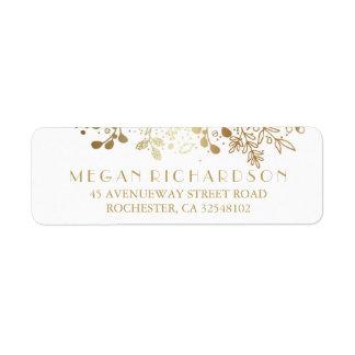 Baby's Breath Gold Floral Elegant Wedding Label