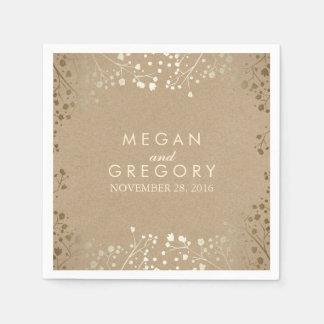 Baby's Breath Gold Floral Wedding Paper Napkin