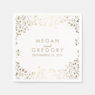 Baby's Breath Gold Floral White Wedding Paper Napkin