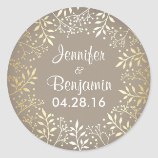 Baby's Breath Gold Foil Elegant Wedding Classic Round Sticker
