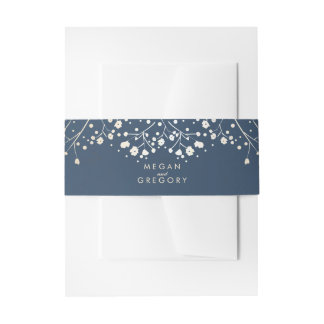 Baby's Breath Gold Foil Navy Wedding Invitation Belly Band