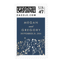 Baby's Breath Gold Foil Navy Wedding Postage