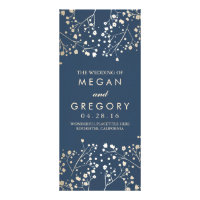 Baby's Breath Gold Foil Navy Wedding Programs