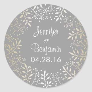 Baby's Breath Gold Foil Wedding Classic Round Sticker