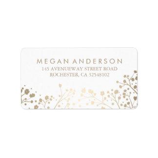 Baby's Breath Gold Foil White Wedding Label