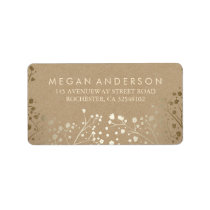 Baby's Breath Gold Kraft Wedding Label
