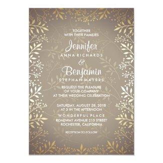 Baby's Breath Gold Wedding Card