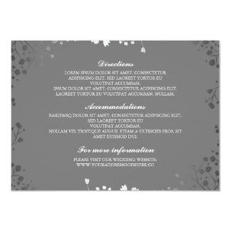 Baby's Breath Grey Silver Wedding Details Card