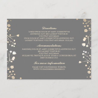 Baby's Breath Grey Wedding Details - Information Enclosure Card