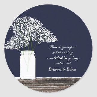 Baby's Breath in Mason Jar Rustic Blue Stickers