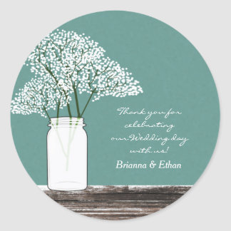 Baby's Breath in Mason Jar Rustic Stickers
