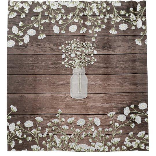 Baby's Breath In Mason Jar Rustic Wood Shower Curtain