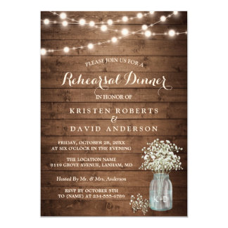 Baby's Breath Jar String Lights Rehearsal Dinner Card