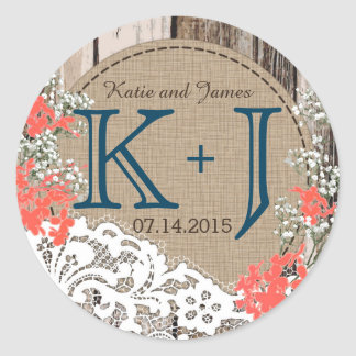 Baby's Breath Lace Rustic Monogram Wedding Label