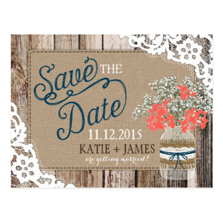 Baby's Breath Lace Rustic Wood Save the Date Postcard