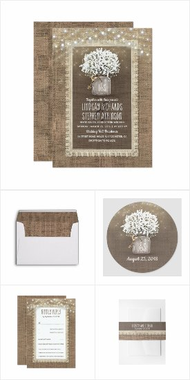 Baby's Breath Mason Jar and Rustic Burlap Wedding Invitation Set Collection of matching designs