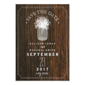 Baby's Breath & Mason Jar Barn Wood Save The Date Card