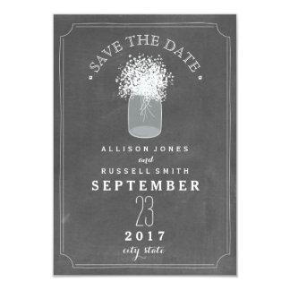 Baby's Breath & Mason Jar Chalkboard Save The Date Card