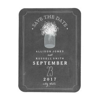 Baby's Breath Mason Jar Chalkboard Save The Date Magnet