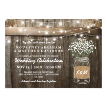 Babys Breath Mason Jar Country Rustic Wedding Invitations