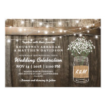 Baby's Breath Mason Jar Country Rustic Wedding Card