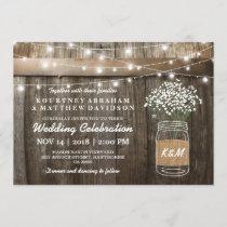 Baby's Breath Mason Jar Country Rustic Wedding Invitation