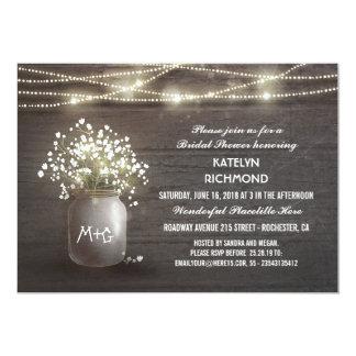 Baby's Breath Mason Jar Lights Bridal Shower Card
