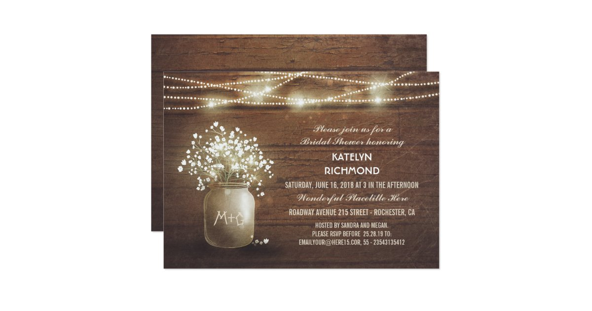 Baby Gift Expo : Baby s breath mason jar lights bridal shower card zazzle