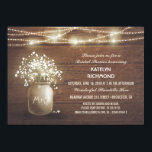 "Baby&#39;s Breath Mason Jar Lights Bridal Shower Card<br><div class=""desc"">string lights bridal shower invitation with rustic barn wood background texture and mason jar with baby&#39;s breath.</div>"