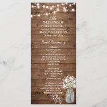 Baby's Breath Mason Jar Lights Wedding Program