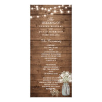 Baby's Breath Mason Jar Lights Wedding Program