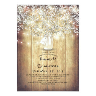 Baby's Breath Mason Jar Rustic Barn Bridal Shower Card