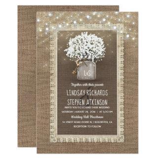 Baby's Breath Mason Jar Rustic Burlap Lace Wedding Card
