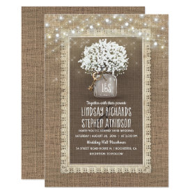 Baby's Breath Mason Jar Rustic Burlap Lace Wedding Invitation