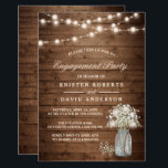 """Baby&#39;s Breath Mason Jar Rustic Engagement Party Card<br><div class=""""desc"""">================= ABOUT THIS DESIGN ================= Baby&#39;s Breath Mason Jar Rustic Engagement Party Invitation. (1) For further customization, please click the &quot;Customize it&quot; button and use our design tool to modify this template. All text style, colors, sizes can be modified to fit your needs. (2) If you prefer thicker papers, you...</div>"""
