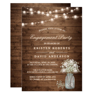Baby's Breath Mason Jar Rustic Engagement Party Card