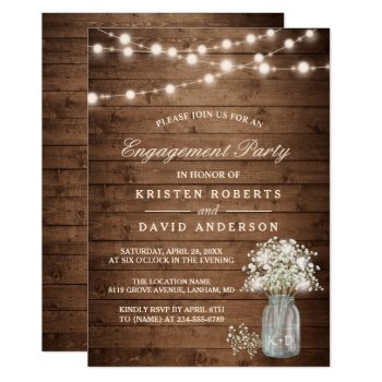Baby's Breath Mason Jar Rustic Engagement Party Card by CardHunter at Zazzle