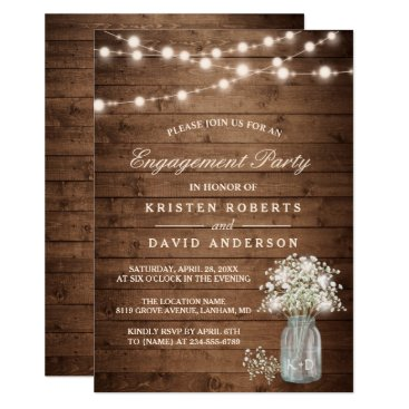 CardHunter Baby's Breath Mason Jar Rustic Engagement Party Card