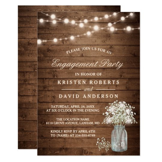 Baby 39 s breath mason jar rustic engagement party card for Online engagement party invitations